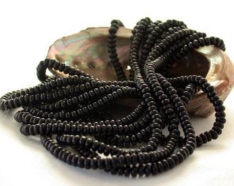 Czech Glass Beads, Czech Glass Rondelle Beads, Jet Black Spacer Beads CZ-027