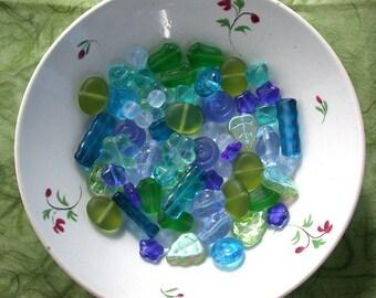 Czech Glass Beads, Mixed Lot of Beads, Aqua Beads, Blue Beads, Green Beads DS-126