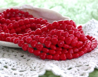 6mm Heart Beads, Czech Glass Heart Beads, Red Heart Beads, Hearts CZ-085
