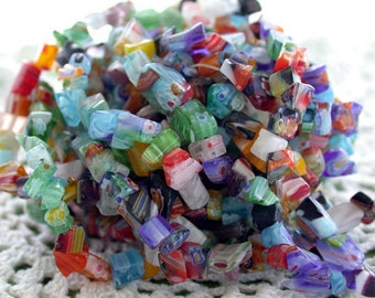 "Millefiori Glass Bead Chips, Millefiori Glass Beads, Glass Chips, 34"" Strands CZ-090"