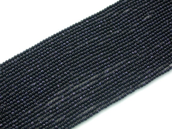 Blue Goldstone Beads, 2 mm Round Beads SP-012