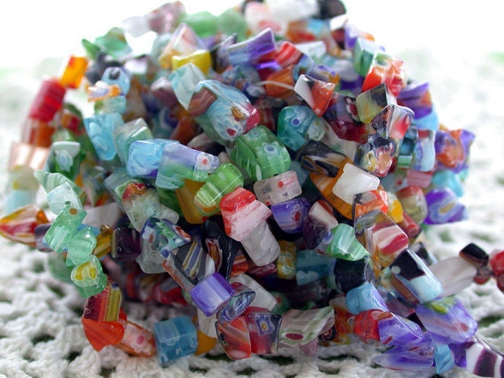 "Millefiori Glass Bead Chips, Millefiori Glass Beads, Glass Chips, 34"" Strands CZ-090"