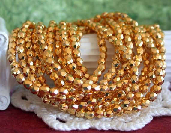 24kt Gold Plated Beads, 3mm Fire Polished Beads, Czech Glass Beads, Faceted Glass Beads, Gold Beads CZ-101