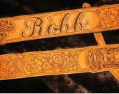 MTO Hand-engraved & Personalized Guitar Strap with Name and Paisley patterns on Brown Leather (NO STAMPS)