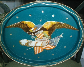Vintage Bicentennial Tray American Eagle Crest with Flag and Racoon Tail