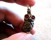 Shibuichi  Carnelian Eyed Mechanical Owl - New Year Special