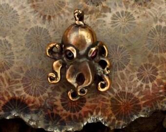 Shibuichi Garnet Eyed Octopus