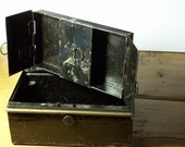 antique tin money box with 3 interior compartments--industrial chic