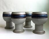 Vintage art pottery wine goblets 1970's  by Otagiri