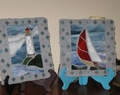 Handmade Stained Glass Sailboat and Lighthouse Decorative Tiles