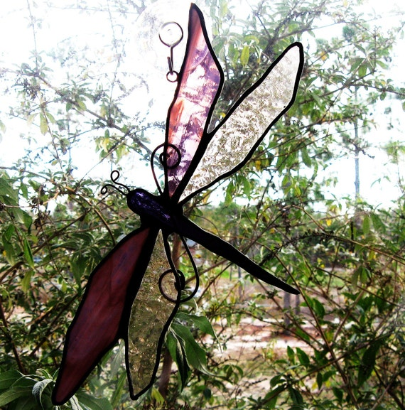 Handmade Stained Glass Dragonfly Suncatcher