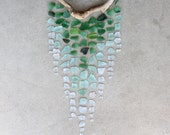 Sea Glass & Driftwood Mobile - OMBRE - Green, Aquamarine and Clear RESERVED