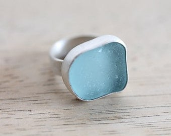 Sea Glass & Sterling Silver Ring - MADE TO ORDER - Custom size and color.