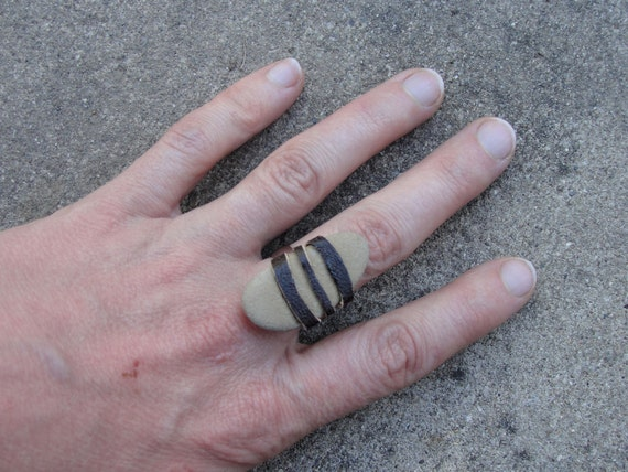Sea Stone Ring with Leather - SALE