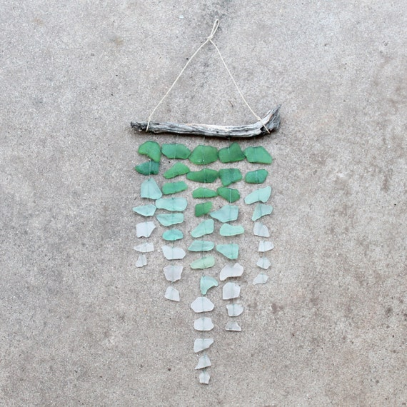 Sea Glass & Driftwood Mobile / Suncatcher - OMBRE - Green, Aquamarine and Clear