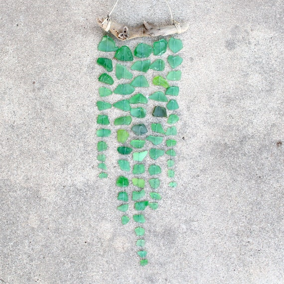 Sea Glass & Driftwood Mobile - Green