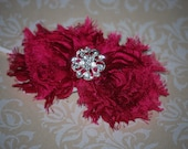 Raspberry Chiffon Rosette/Flower Headband with Rhinestone Embellishment - Newborn, Infant, Toddler, Baby, Girls