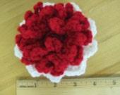 Red & White crocheted flower ponytail holder for a special little girl.