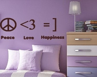 Texting Symbols PEACE LOVE HAPPINESS Vinyl Wall Lettering  Decal