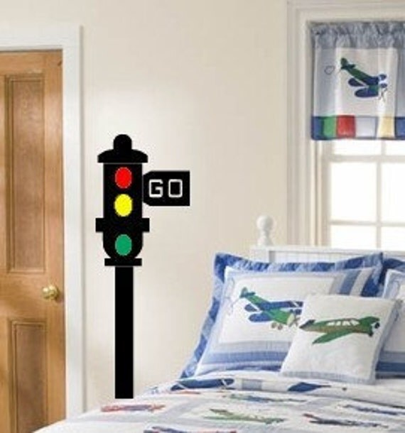 Traffic Stop and Go Light Wall decal - Boys Room Street Light Wall Sticker - Large size options