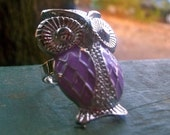 Who-who-who do ya love.....adjustable owl ring (purple)