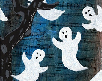 Dancing Halloween Ghosts Mixed Media Painting, Original Artwork on 8 x 10 Canvas, Home Decor, Children's Room Art, Wall Hanging