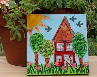 Home Sweet Home Mixed Media Painting, Folk Art, House-Warming Gift, Original Artwork, Primitive Art, Children's Room and Nursery Decor