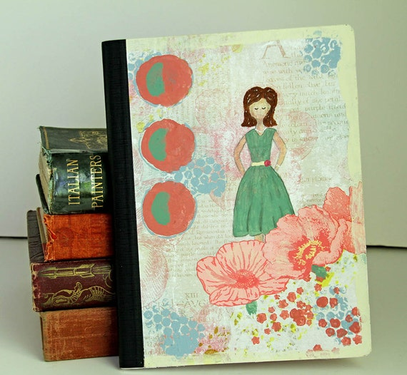 Vintage Girl Journal Notebook with Bookmark Altered Composition Book