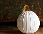 Glass Pumpkin in Matte Ivory with Amber Stem