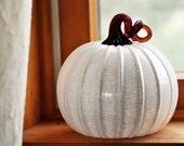 Glass Pumpkin in Glossy Ivory with Dark Amber Stem
