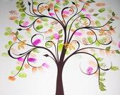 WEDDING GUESTBOOK TREE, guestbook wedding tree, spring wedding tree, Thumbprint guest book tree, Stamp Tree guest book, 20x24, num. 100