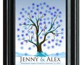 WEDDING TREE winter guest book, fingerprint tree winter guest book, fingerprint guest tree, Thumbprint guestbook, 16x20 num.115