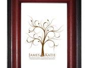 TREE GUEST BOOK, spring Wedding Tree, summer Fingerprint Guest Tree, Love Birds, Thumbprint Love Tree guest book, 16x20 num. 100 2