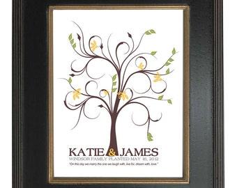 THUMBPRINT TREE, wedding tree guest book, fingerprint guest tree, Thumbprint Stamp Tree guest book, Love Birds, Wedding Poster 13x19 num.100