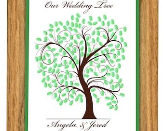 WEDDING TREE GUEST book, thumbprint tree, fingerprint guest tree, fingerprint tree guest book, Love Birds, Wedding tree 13x19 num. 102