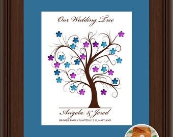 WEDDING TREE GUEST book, thumbprint tree, fingerprint guest tree, fingerprint tree guest book, Love Birds, Wedding tree 11x17 num. 102