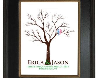 FINGERPRINT GUEST TREE , Wedding Tree, Love Birds, guest book tree wedding, Thumbprint Stamp Tree Stamp, Tree guest book, 20x30 num. 104