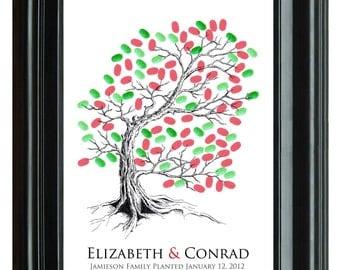 WEDDING THUMBPRINT guestbook, original Wedding Tree, drawn guest book tree, hand drawn copy of original Tree guest book, 16x20 num.107