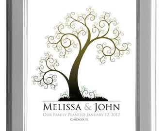 GUEST BOOK WEDDING tree, wedding tree guestbooks, fingerprint tree, Thumbprint guest book tree, Stamp Tree guest book 16x20 num. 108