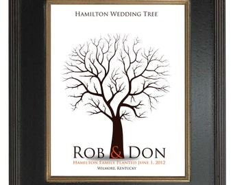 THUMBPRINT TREE, wedding tree guest book, fingerprint guest tree, Thumbprint Stamp Tree guest book, Love Birds, Wedding Poster 13x19 num.111
