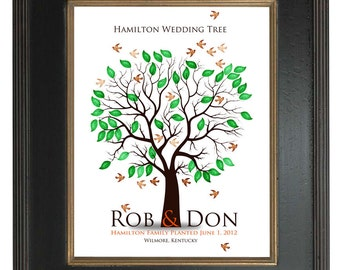 THUMBPRINT TREE, wedding tree guest book, fingerprint guest tree, fingerprint tree guest book, guest book Love Birds, 20x24 num.111
