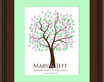 WEDDING TREE guest book, fingerprint tree guest book, fingerprint guest tree, Thumbprint guestbook, Wedding Tree, Love Birds, 16x20 num.112