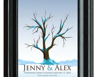 THUMBPRINT TREE, winter wedding tree guest book, fingerprint guest tree, fingerprint tree guest book, guest book Love Birds, 20x24 num.115