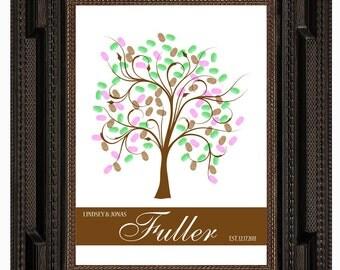 TREE GUEST BOOK, Wedding Tree, Fingerprint Guest Tree, Love Birds, Thumbprint Love Tree guest book, 16x20 num. 118