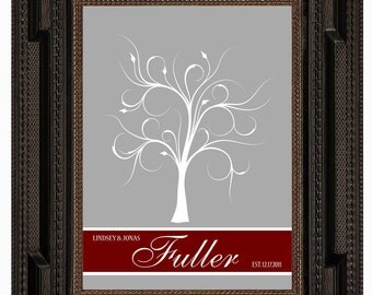 THUMBPRINT TREE, wedding tree guest book, fingerprint guest tree, Thumbprint Tree guest book, Love Birds, Wedding Poster 11x17 num.118