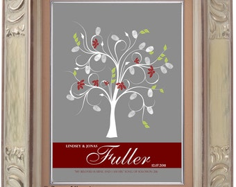GUEST BOOK WEDDING tree, wedding tree guestbooks, fingerprint tree, Thumbprint guest book tree, Stamp Tree guest book 20x24 num. 117