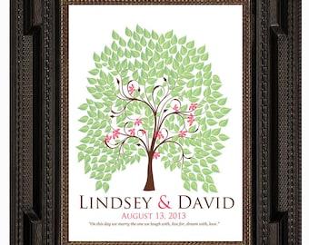 spring fingerprint tree guest book, WEDDING SIGNATURE TREE guest book, summer tree, Thumbprint guestbook, Wedding Tree, 13x19 num.120