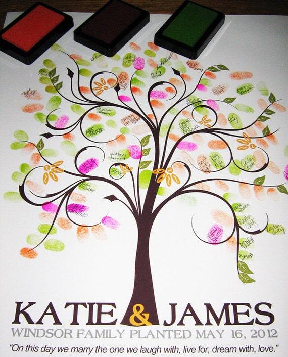 WEDDING GUESTBOOK TREE, guestbook wedding tree, spring wedding tree, Thumbprint guest book tree, Stamp Tree guest book, 8x10, num. 100