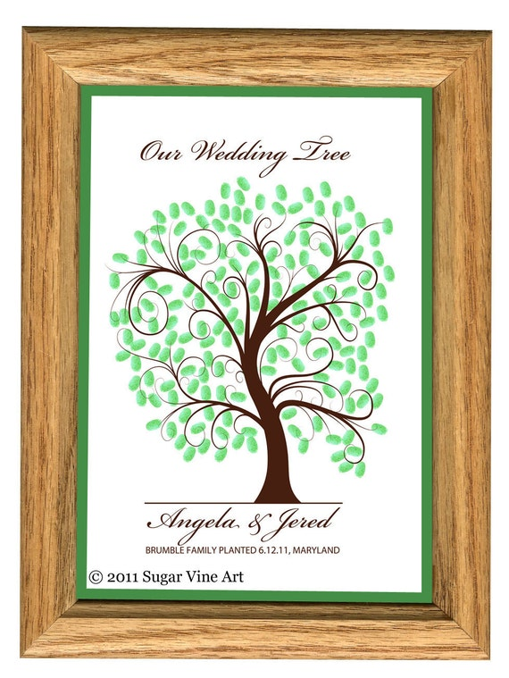 WEDDING TREE GUEST book thumbprint tree by SugarVineArt on ...