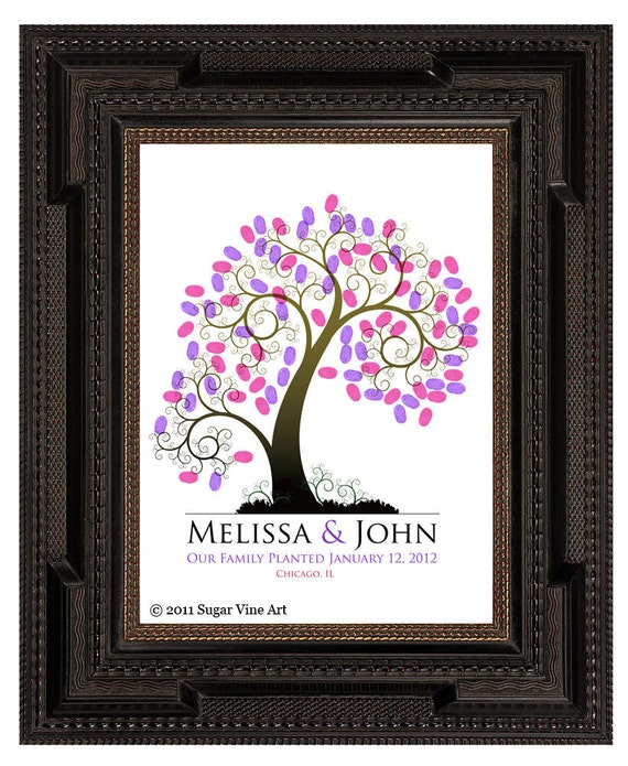 WEDDING TREE guest book, fingerprint tree guest book, summer wedding tree, Thumbprint guestbook, Wedding Tree, Love Birds, 16x20 num.108